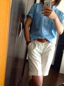 MEN ハーフパンツ(ホワイト)× MEN 半袖柄シャツ